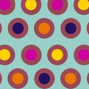 Dots (dark mauve on light teal)