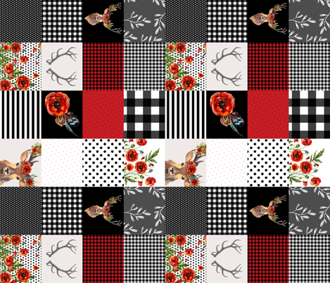Deer in Love Whole Cloth / Cheater Quilt 90 degrees fabric by shopcabin on Spoonflower - custom fabric
