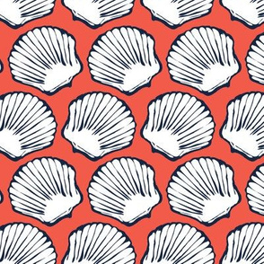 Seashells in Navy and Coral