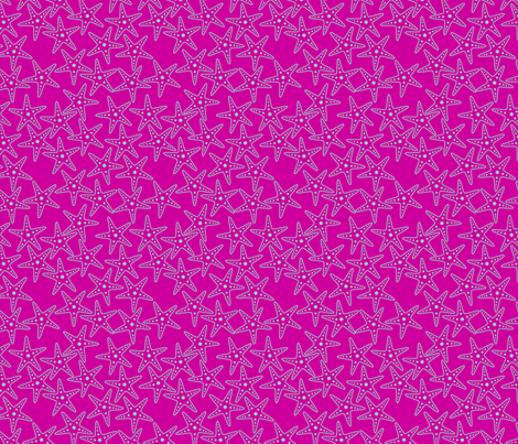 Starfish Background (light teal on pink) fabric by chiral on Spoonflower - custom fabric