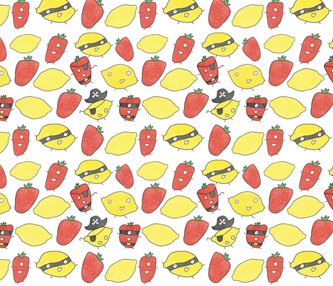 whimsical watercolor fruit fabric by littlewhimsy on Spoonflower - custom fabric