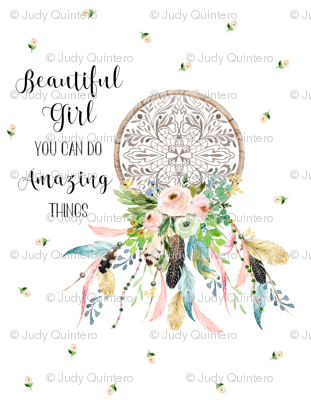 "56""x72"" / Spring Time Dream Catcher / WITH QUOTE"