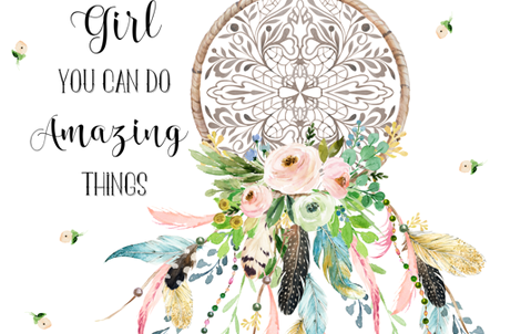 "56""x72"" / Spring Time Dream Catcher / WITH QUOTE fabric by shopcabin on Spoonflower - custom fabric"