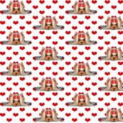 Yorkie Beauty red hearts white S