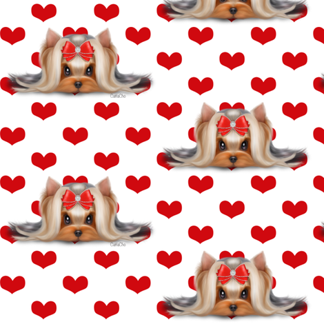 Yorkie Beauty red hearts white M fabric by catialee on Spoonflower - custom fabric