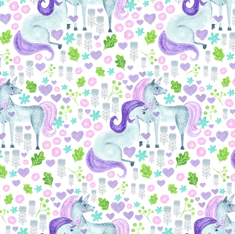 Whimsical Unicorns fabric by jacquelinehurd on Spoonflower - custom fabric