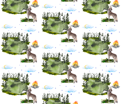 """7"""" Camping Wolf fabric by shopcabin on Spoonflower - custom fabric"""