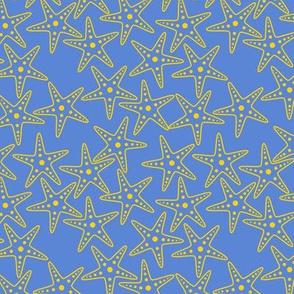 Starfish Background (yellow on mid blue)