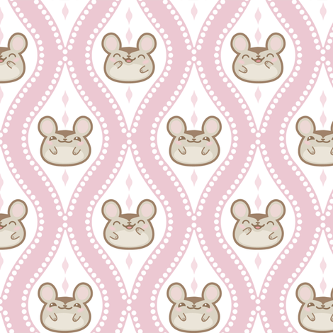 Happy Diamond Mice Pink fabric by woodmouse&bobbit on Spoonflower - custom fabric