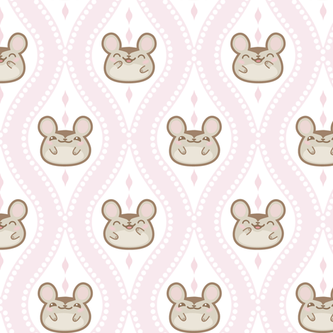 Happy Diamond Mice_Pale_Pink fabric by woodmouse&bobbit on Spoonflower - custom fabric