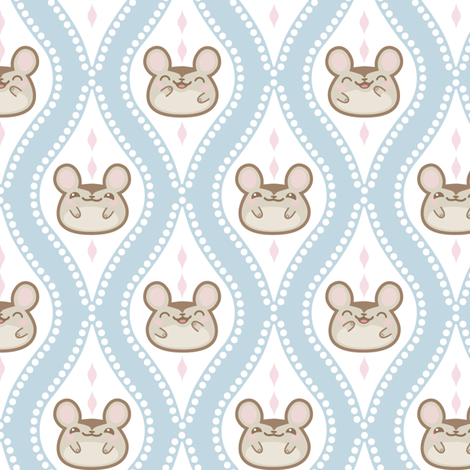 Happy Diamond Mice Blue fabric by woodmouse&bobbit on Spoonflower - custom fabric