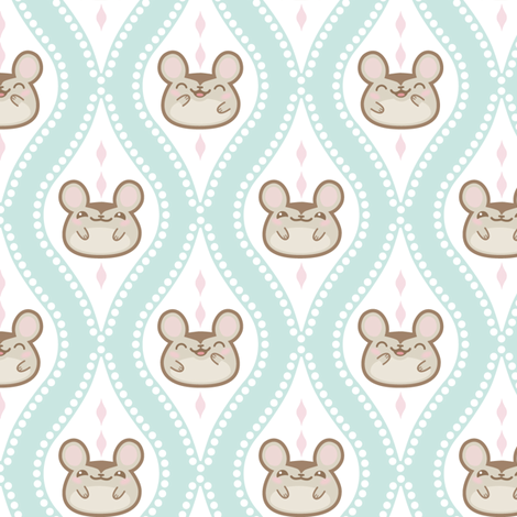 Happy Diamond Mice Aqua fabric by woodmouse&bobbit on Spoonflower - custom fabric
