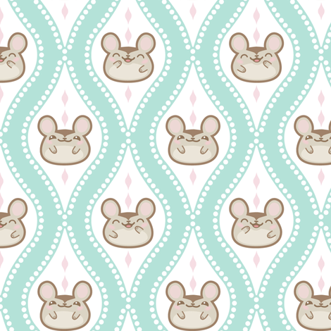 Happy Diamond Mice Turquoise fabric by woodmouse&bobbit on Spoonflower - custom fabric