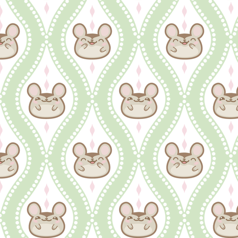 Happy Diamond Mice Green fabric by woodmouse&bobbit on Spoonflower - custom fabric