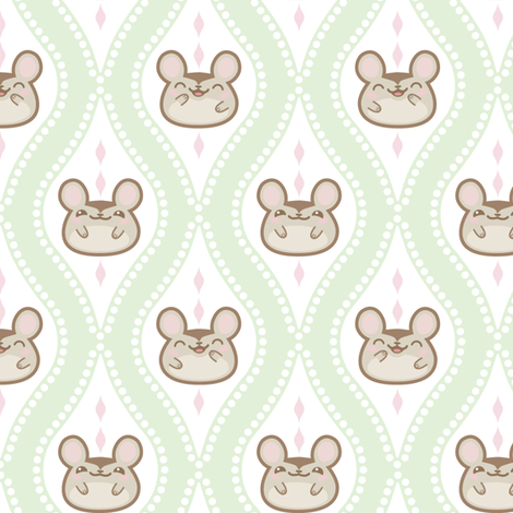 Happy Diamond Mice Mint fabric by woodmouse&bobbit on Spoonflower - custom fabric