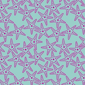 Starfish Background (pink on light teal)