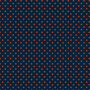 Mini Navy and Orange Polka Dots