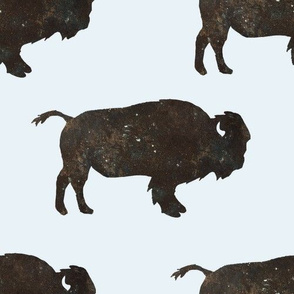 "10"" 10"" Buffalo / Brown, Tan, White & Blue Hues / Blue Background"