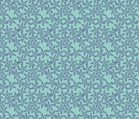 Starfish Background (purple on light teal) fabric by chiral on Spoonflower - custom fabric