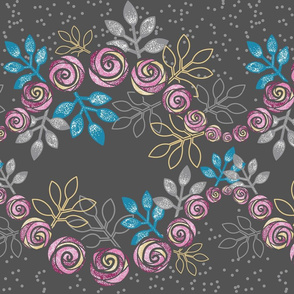 Rose Garland Borders in Pink, Gray, Blue by Amborela