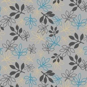 Rose Leaf Prints in Gray, Blue, Yellow