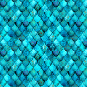 SMALL Aqua + Turquoise Mermaid or Dragon Scales by Su_G