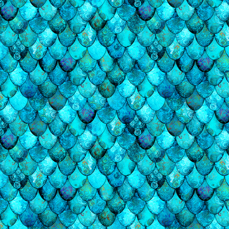 SMALL Aqua + Turquoise Mermaid or Dragon Scales by Su_G fabric by su_g on Spoonflower - custom fabric
