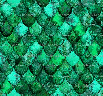 SMALL dragon scales for the Irish Dragon, in greens, by Su_G