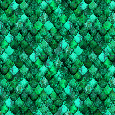 SMALL dragon scales for the Irish Dragon, in greens, by Su_G fabric by su_g on Spoonflower - custom fabric