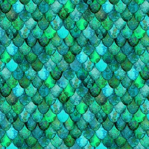 SMALL Greens + Aquamarine Mermaid or Dragon Scales, after Fabergé, by Su_G