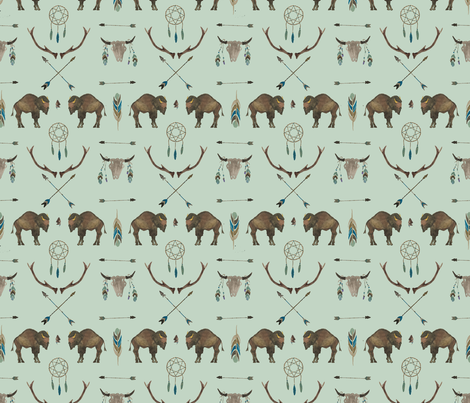 Sage Prairie Buffalo fabric by paper_and_frill on Spoonflower - custom fabric