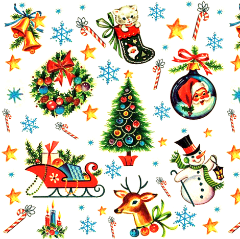 Merry Christmas xmas stars bells snowflakes candy canes kittens cats stockings wreaths bows baubles Santa Claus Sleigh presents gifts christmas trees snowman snowmen snow reindeer deer candles vintage retro kitsch socks fabric by raveneve on Spoonflower - custom fabric