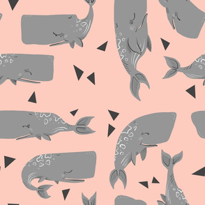 Whales and Triangles on Pink