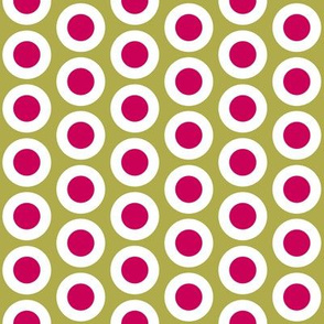 Crimson + white buttonsnaps or polka dots on old gold by Su_G