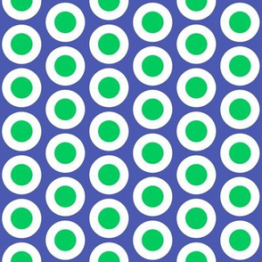 Bright green + white buttonsnaps or polka dots on blue by Su_G