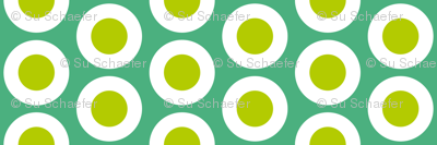Yellow-green + white buttonsnap polka dots on emerald by Su_G