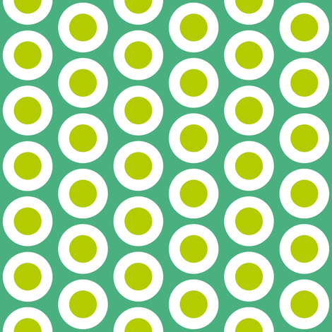 Yellow-green + white buttonsnap polka dots on emerald by Su_G fabric by su_g on Spoonflower - custom fabric