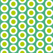Yellow-green + white buttonsnaps or polka dots on emerald by Su_G