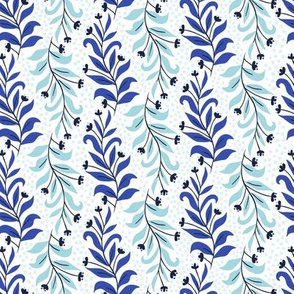 blue and white sprig