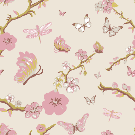 Chinoiserie, Cream fabric by michellegracedesign on Spoonflower - custom fabric