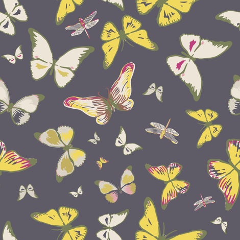 Flutterby Butterfly, black fabric by michellegracedesign on Spoonflower - custom fabric