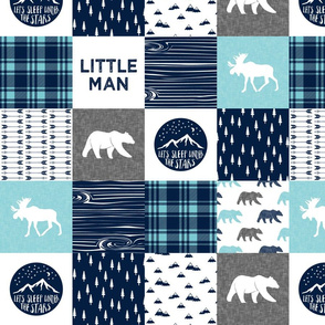 "4"" small scale - Little man & Happy Camper patchwork wholecloth 