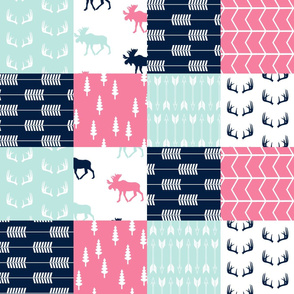 Moose Wholecloth Patchwork Quilt top // vs 2