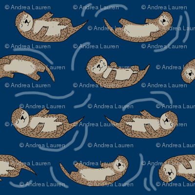 otters_navyotter fabric // cute otters design animals fabric nursery baby andrea lauren - navy