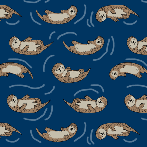otters_navyotter fabric // cute otters design animals fabric nursery baby andrea lauren - navy fabric by andrea_lauren on Spoonflower - custom fabric