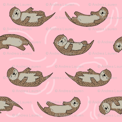 otter fabric // cute otters design animals fabric nursery baby andrea lauren - pink