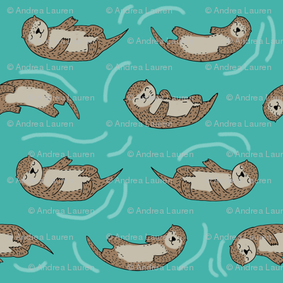 otter fabric // cute otters design animals fabric nursery baby andrea lauren - turquoise