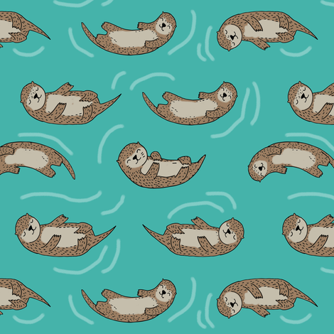 otter fabric // cute otters design animals fabric nursery baby andrea lauren - turquoise fabric by andrea_lauren on Spoonflower - custom fabric