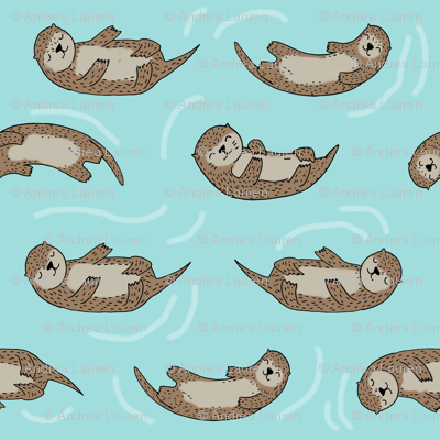 otter fabric // cute otters design animals fabric nursery baby andrea lauren - light blue