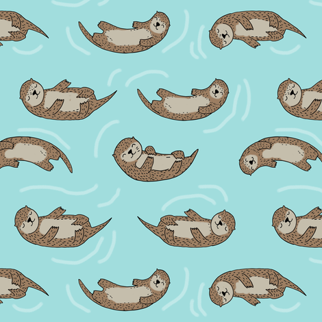 otter fabric // cute otters design animals fabric nursery baby andrea lauren - light blue fabric by andrea_lauren on Spoonflower - custom fabric